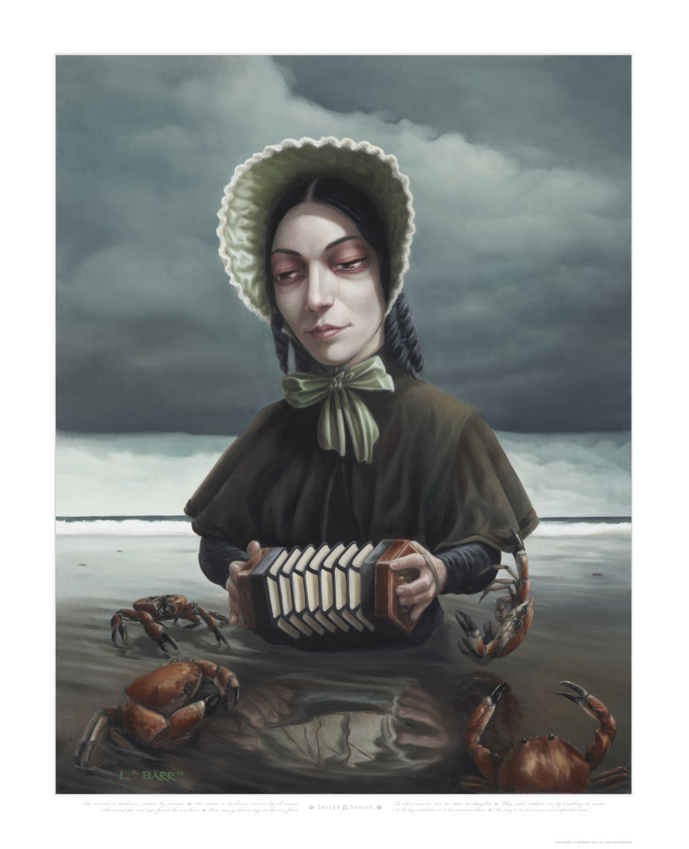 Limited edition print of a playing accordiand while sinking into the sand