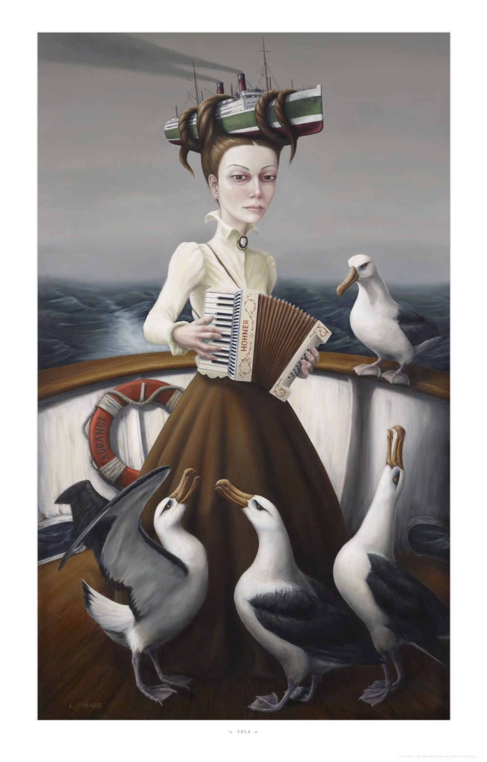 image of woman play accordian with albatross