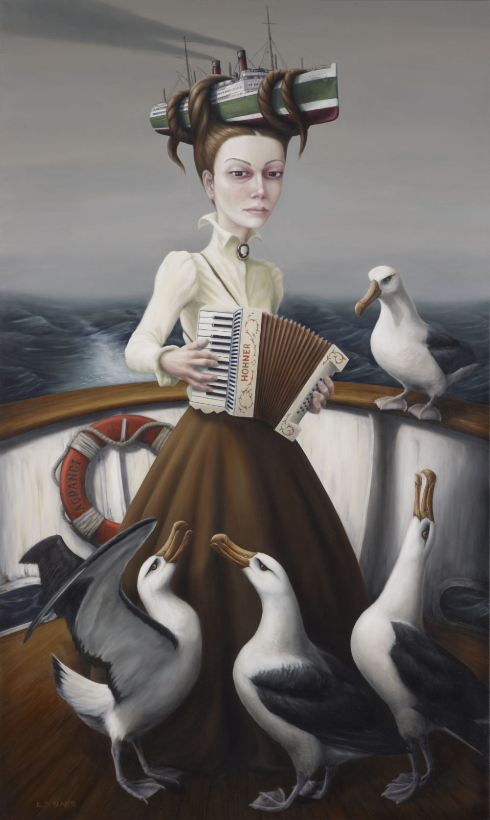 <Liam Barr, historical surrealism, prints for sale, NZ history, online gallery, maori pictures, portraits, contemporary New Zealand artist, albatross, figurative, accordian, fine-art works, pop surrealism, art, Neo-Surrealism, bird art,>