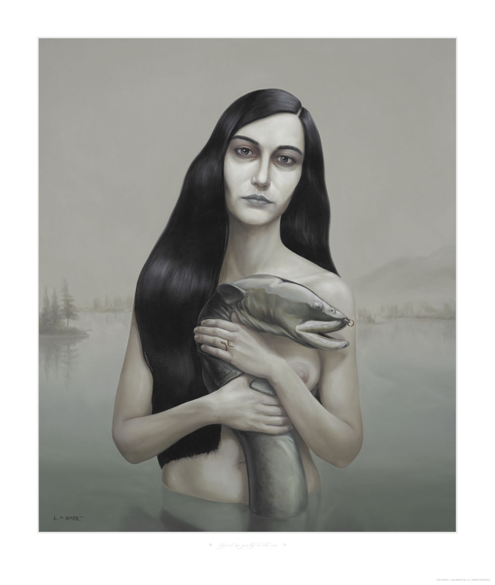 image of woman hold an eel in the water