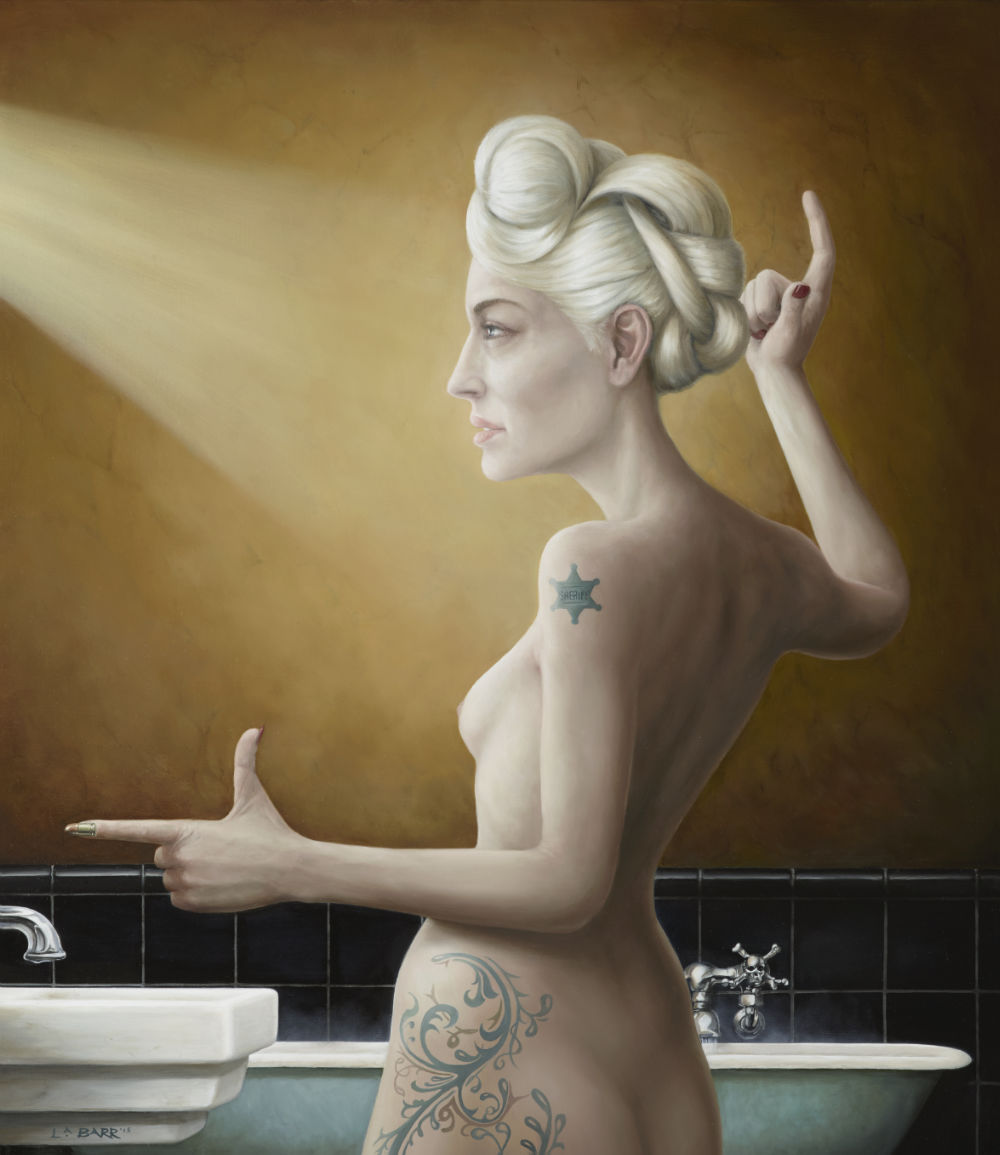 Woman staning in front of vanity, painted by Liam Barr