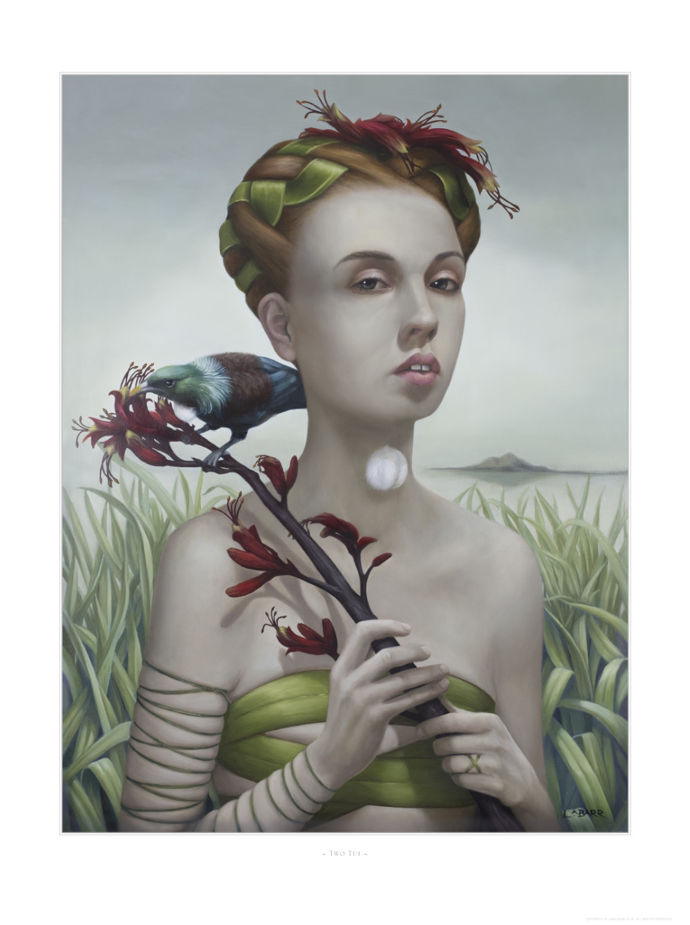 Limited edition print of girl with flax frond and tui in front of Taputeranga Island